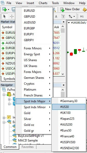 Open US30 symbol in MetaTrader - How to trade US30 on MT4