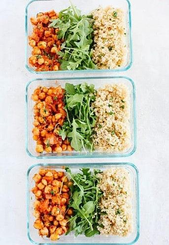 Spicy Chickpea Quinoa-Vegan Meal prep ideas