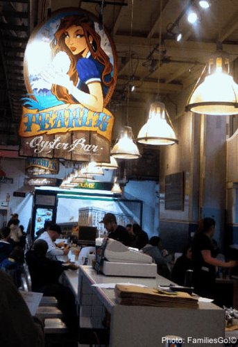 the sign over Pearls Oyster Bar in Reading Terminal