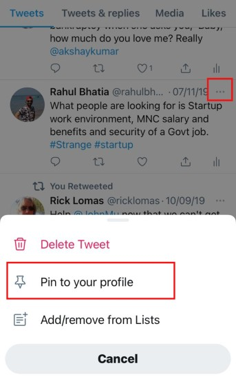 pin a tweet to your profile on android and iphone mobile app