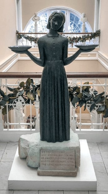 The bird girl statue from bonaventure cemetary is now in the telfair museum
