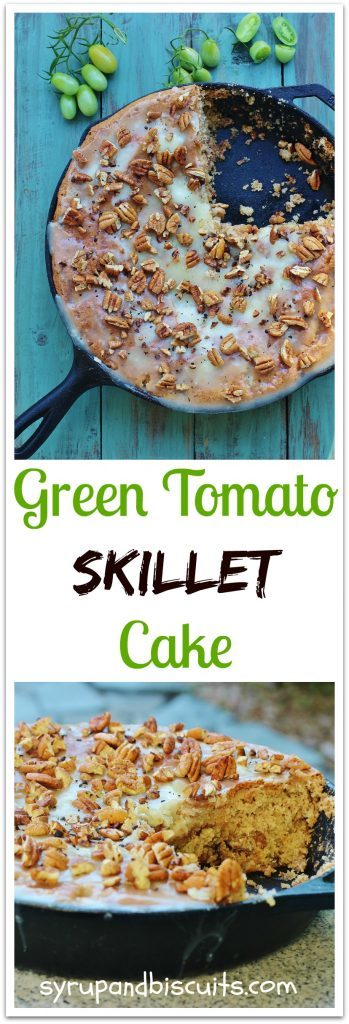 Green Tomato Skillet Cake. Spice cake with green tomatoes, pecans,and raisins topped with a warm butter icing and toasted pecans.