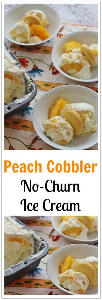 Peach Cobbler No-Churn Ice Cream. Easy-to-make no-churn ice cream filled with the flavors of southern peach cobbler.