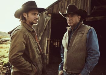 """John Dutton (R- Kevin Costner) hands over the reigns to the Ranch to his youngest son Kayce (L-Luke Grimes)  Season 2 of """"Yellowstone"""" returns to Paramount Network starting Wednesday, June 19 at 10 PM, ET/PT."""