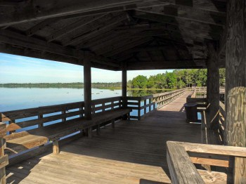 Fishing pier on the nature boardwalk at Lake Ashby Park.