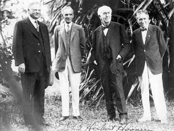 Herbert Hoover, Henry Ford, Thomas Edison, Harvey Firestone in Fort Myers