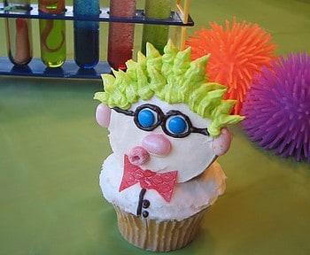 Cute Science Birthday Party Ideas! Scientist cupcake. LivingLocurto.com