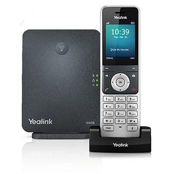 Yealink W60P base behind 56H model handset in charging dock