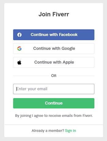Fiverr Account erstellen