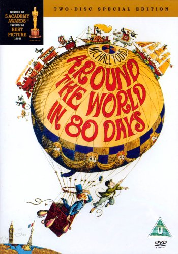 The movie poster for the 1950s around the world in 80 days movie.