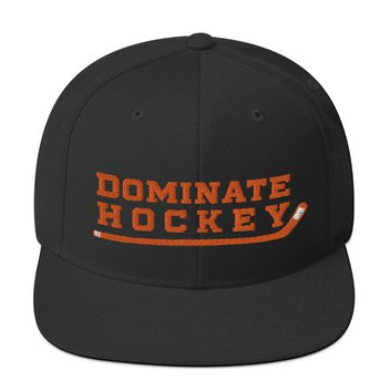 "a black hat with orange writing that says ""dominate hockey"""