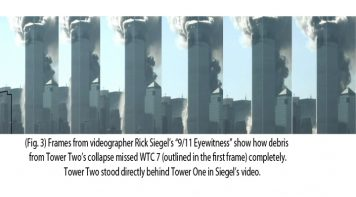 Photo of video frames showing the Twin Towers' demolition