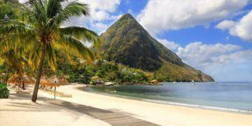 Sugar beach st. Lucia, in the caribbean