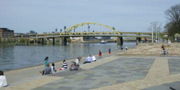 A view of pittsburgh and its steel bridges at point state park