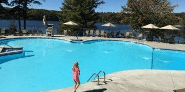 Woodloch pines has a beautiful outdoor pool and lake