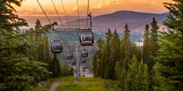 Sunset from a gondola is a beautiful summer experience at snowmass