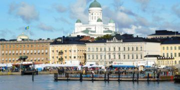 Helsinki's market square, Presidential house and Cathedral from the Harbor