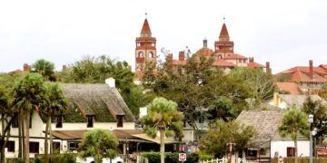 St. Augustine's skyline includes colonial roofs and gilded-age spanish-style towers.