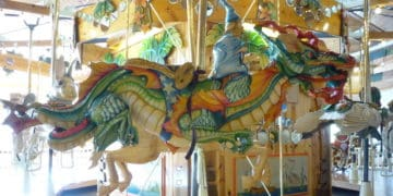 share a dragon with a wizard at the Lark Toy Store carousel