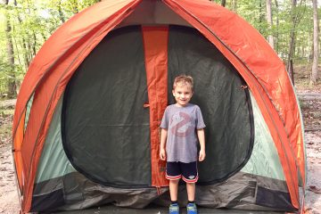 My son and our tent