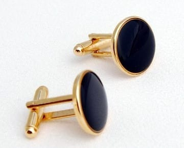 Faux Onyx Cuff Links Gold