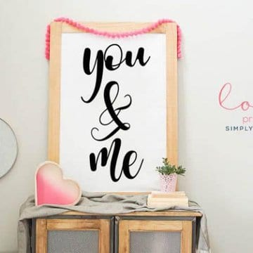 You and Me Printable - free love printable - perfect print for bedroom or valentines day printable art