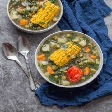 two bowls of soup