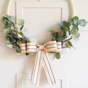 greenery hoop wreath with lavender and burlap bow
