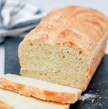 close up of white artisan bread 5 minute bread no-knead bread