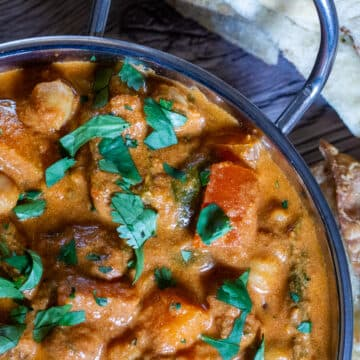Over head view of Slow Cooker Sweet Potato and Chickpea Curry