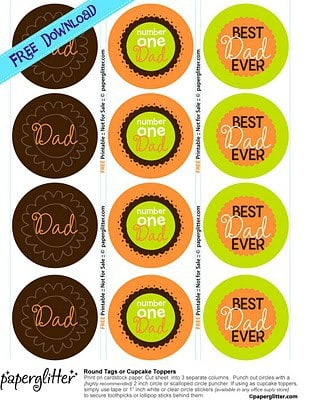 Cute Father's Day Free Printables by Paper Glitter - Tags for Dad gifts or Cupcake Toppers