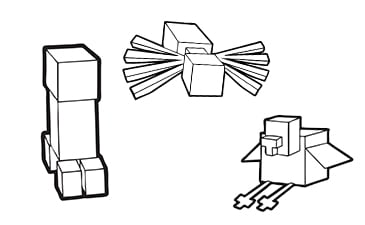 Minecraft Coloring Pages of Individual Animals and Mobs and People