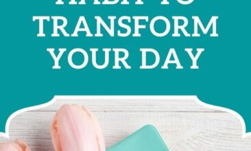 """Pinterest pin, image is of paper on a table with tulips and a candle. Text overlay says, """"A Morning Habit to Transform Your Day: small but mighty!"""""""
