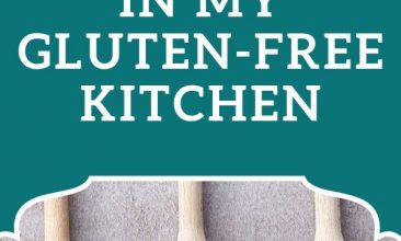 """Pin image of wooden spoons laid out in a line, each with a different ground flour on the spoon, the whole grain sits in a small pile infront of the spoon. Text overlay reads """"10 Essential Food Staples in My Gluten Free Kitchen"""""""
