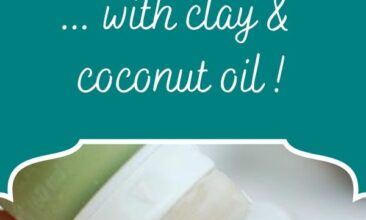 """Pinterest pin, image is of a hand squeezing homemade toothpaste on a toothbrush. Text overlay says, """"Homemade Toothpaste... with clay & coconut oil!"""""""