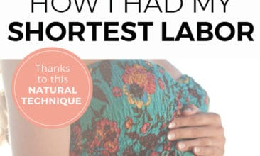 """Two images, the first of a woman holding her pregnant belly, the other of a newborn baby. Text overlay says, """"How I had my shortest labor ever thanks to this natural technique""""."""