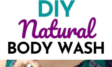 """Pinterest pin with two images. One image is of a woman holding a bottle of soap, pumping it onto her other hand. Second image is of a bottle of DIY body wash on the edge of a bathtub. Text overlay says, """"DIY Natural Body Wash Recipe: super simple!"""""""