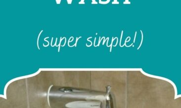 """Pinterest pin, image is of a bottle of DIY body wash on the edge of a bathtub. Text overlay says, """"DIY Natural Body Wash Recipe: super simple!"""""""
