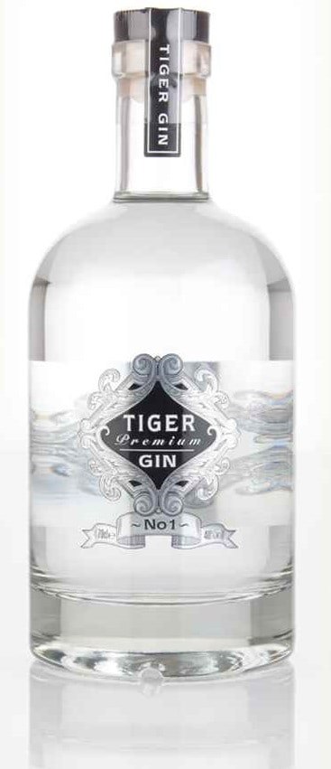 Image shows a bottle of Tiger Gin.
