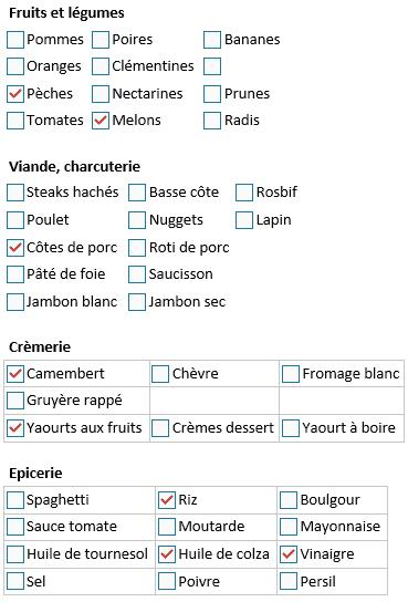 OneNote liste de courses en tableaux