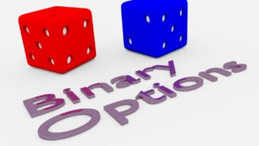 "3D illustration of ""Binary Options"" title written in embossed letters with two dice."