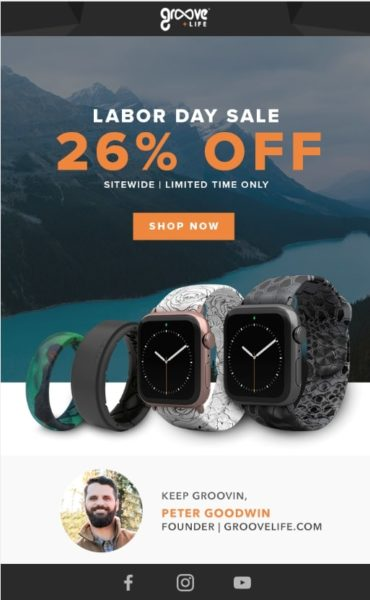 Example of a Labor Day Sale Promotional Email from Groove Life