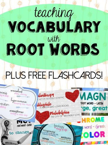 Do your kids struggle to learn vocabulary words?  Flash cards to help learn the root words is a great way to learn for kids of all ages. Included are FREE flash cards to study and links to great resources to help your child improve their vocabulary skills.