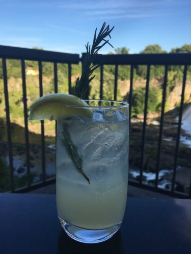 A craft cocktail with local gin and a view at the tavern in saugerties, ny