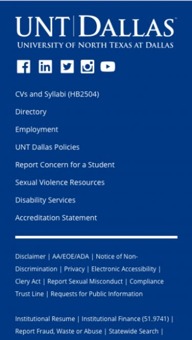 Footer for UNT Dallas