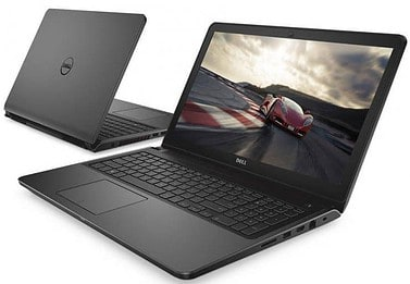 The front and back view of the Dell Inspiron i7559-5012GRY coloured black.