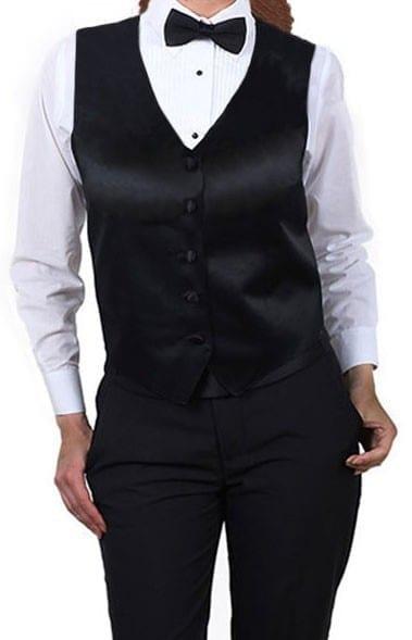 Women's Black Satin Uniform Vest