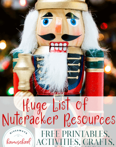 The Christmas season is approaching and that means The Nutcracker will likely be performed in your area. It is such a wonderfully beautiful ballet and a perfect study leading to Christmas. Use these resources to help you create a unit study your kids will love. #Nutcracker #ballet #music #hsgiveaways