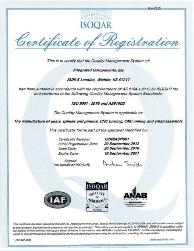 Certificate of Registration for Integrated Components by ISOQAR