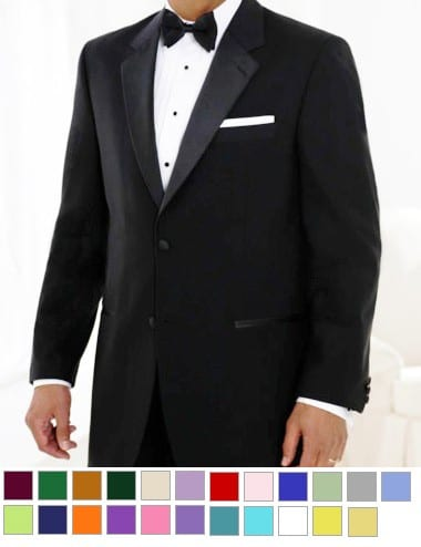 Black Microfiber Tuxedo Package With Any Color Vest & Bowtie